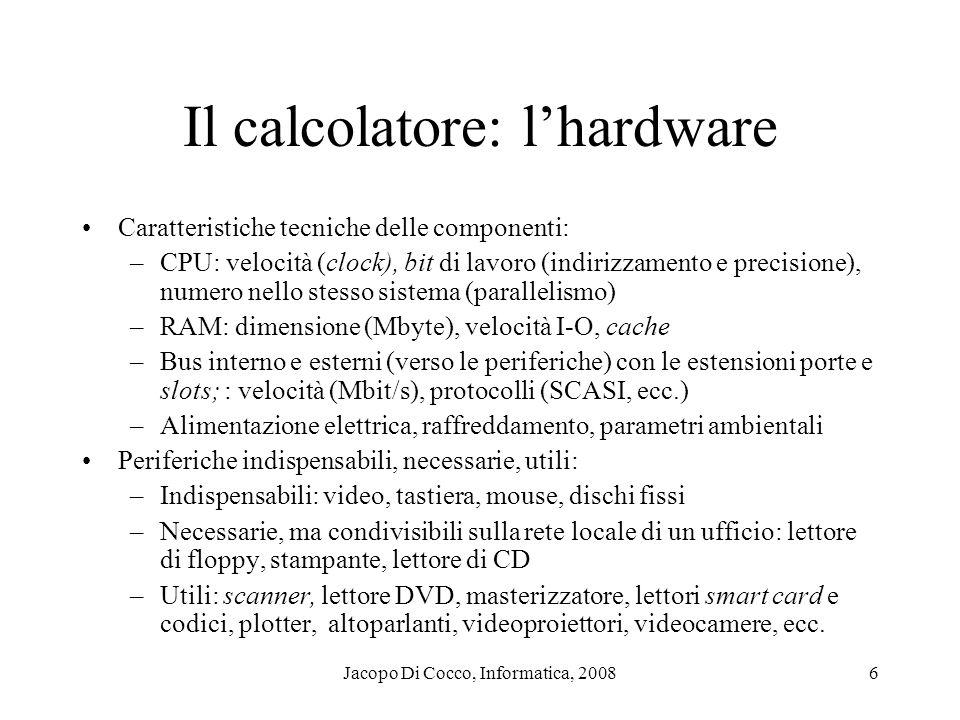 Jacopo Di Cocco, Informatica, 20086 Il calcolatore: lhardware Caratteristiche tecniche delle componenti: –CPU: velocità (clock), bit di lavoro (indiri
