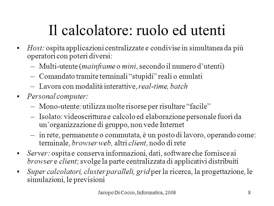 Jacopo Di Cocco, Informatica, 20088 Il calcolatore: ruolo ed utenti Host: ospita applicazioni centralizzate e condivise in simultanea da più operatori