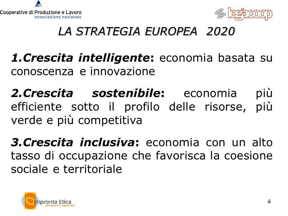 LA STRATEGIA EUROPEA 2020 4 1.Crescita intelligente: economia basata su conoscenza e innovazione 2.Crescita sostenibile: economia più efficiente sotto