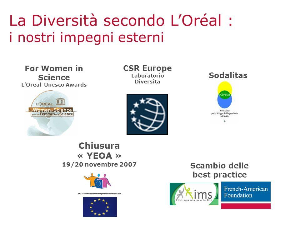 For Women in Science LOreal-Unesco Awards CSR Europe Laboratorio Diversità Scambio delle best practice La Diversità secondo LOréal : i nostri impegni