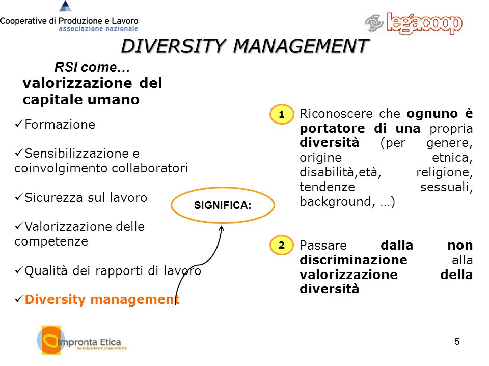6 6 DALLA RSI AL DIVERSITY MANAGEMENT Diversity management Diversity Management is the active and conscious development of a future-oriented, value-driven, strategic, communicative and managerial process of accepting and using certain differences and similarities as a potential in an organisation, a process that creates added value to the company (Source:International Society for Diversity Management) Strategies that can be used to ensure that issues and opportunities arising from having a diverse workforce are addressed in the interests of the staff and the business.