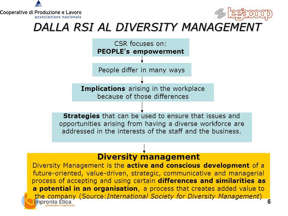 6 6 DALLA RSI AL DIVERSITY MANAGEMENT Diversity management Diversity Management is the active and conscious development of a future-oriented, value-dr
