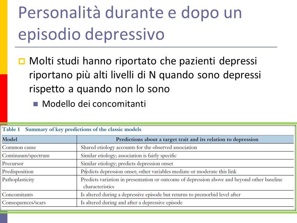 Personalità durante e dopo un episodio depressivo Molti studi hanno riportato che pazienti depressi riportano più alti livelli di N quando sono depressi rispetto a quando non lo sono Modello dei concomitanti 16