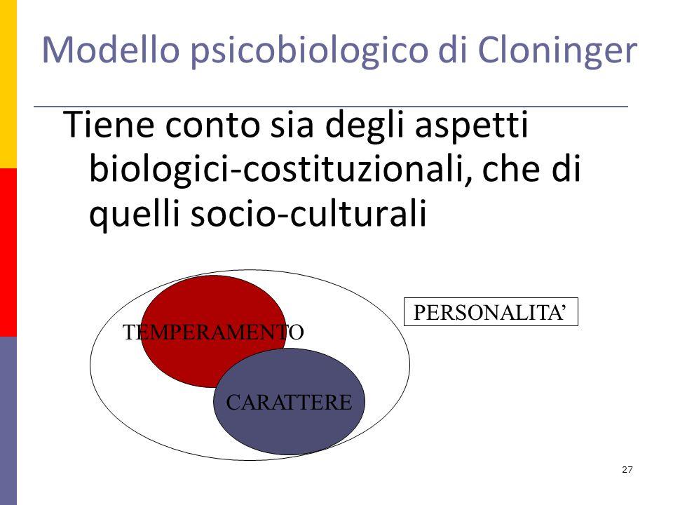 Tiene conto sia degli aspetti biologici-costituzionali, che di quelli socio-culturali TEMPERAMENTO CARATTERE PERSONALITA Modello psicobiologico di Cloninger 27