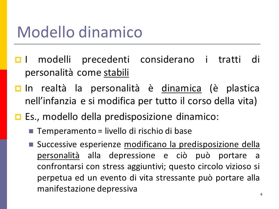 Modello dinamico I modelli precedenti considerano i tratti di personalità come stabili In realtà la personalità è dinamica (è plastica nellinfanzia e si modifica per tutto il corso della vita) Es., modello della predisposizione dinamico: Temperamento = livello di rischio di base Successive esperienze modificano la predisposizione della personalità alla depressione e ciò può portare a confrontarsi con stress aggiuntivi; questo circolo vizioso si perpetua ed un evento di vita stressante può portare alla manifestazione depressiva 4