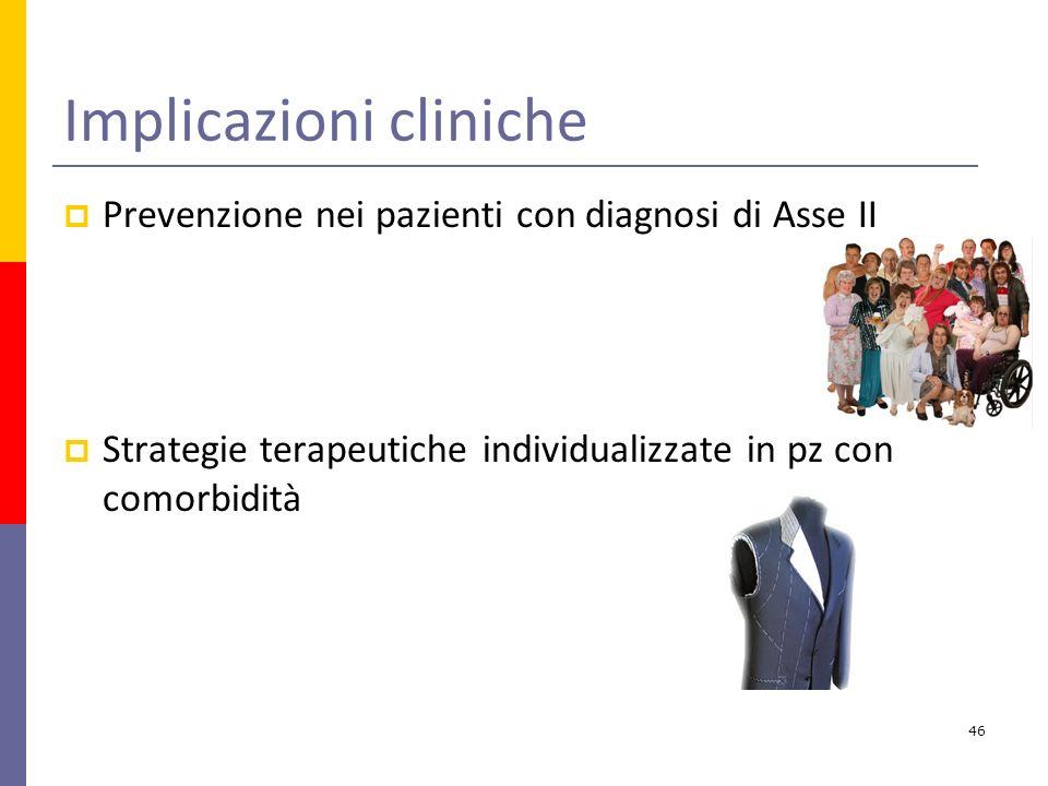 Implicazioni cliniche Prevenzione nei pazienti con diagnosi di Asse II Strategie terapeutiche individualizzate in pz con comorbidità 46