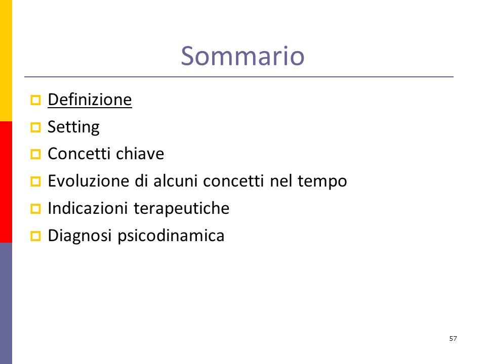 Sommario Definizione Setting Concetti chiave Evoluzione di alcuni concetti nel tempo Indicazioni terapeutiche Diagnosi psicodinamica 57