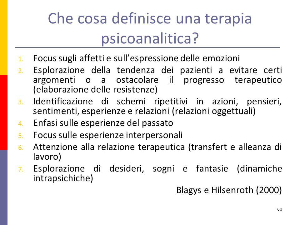 Che cosa definisce una terapia psicoanalitica.1.
