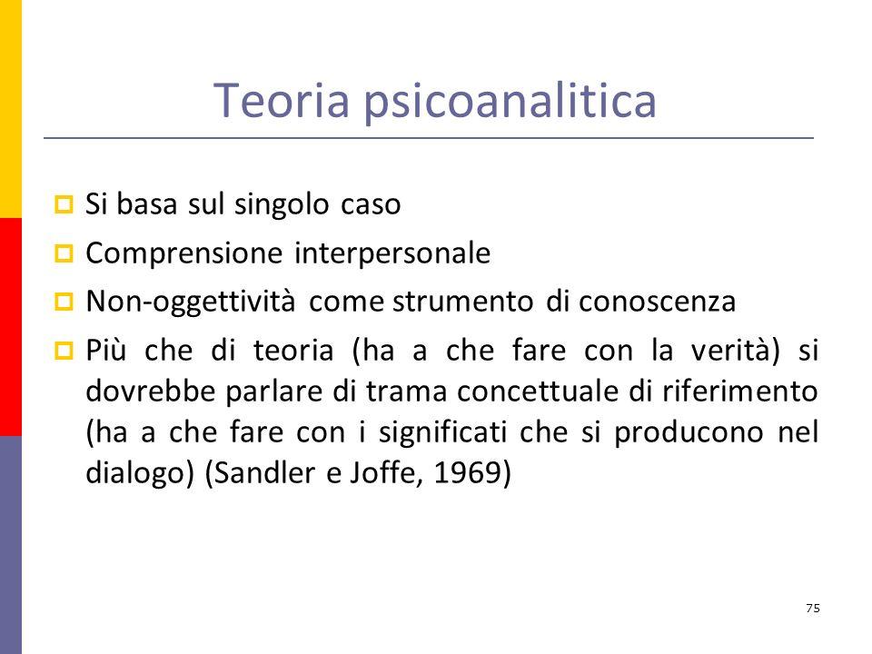 Teoria psicoanalitica Si basa sul singolo caso Comprensione interpersonale Non-oggettività come strumento di conoscenza Più che di teoria (ha a che fare con la verità) si dovrebbe parlare di trama concettuale di riferimento (ha a che fare con i significati che si producono nel dialogo) (Sandler e Joffe, 1969) 75