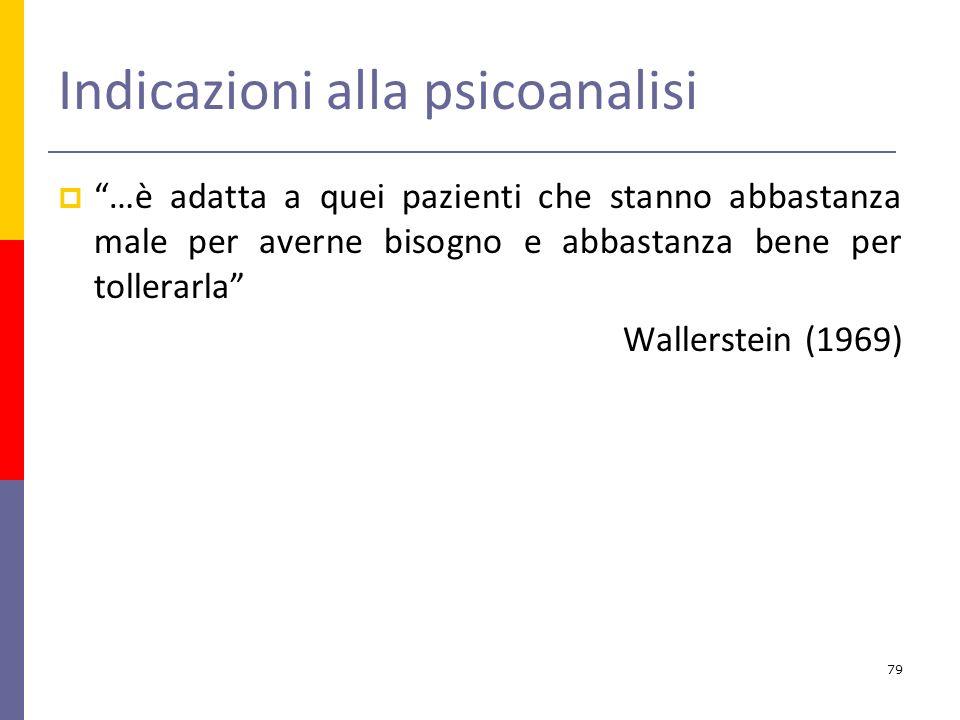 Indicazioni alla psicoanalisi …è adatta a quei pazienti che stanno abbastanza male per averne bisogno e abbastanza bene per tollerarla Wallerstein (1969) 79