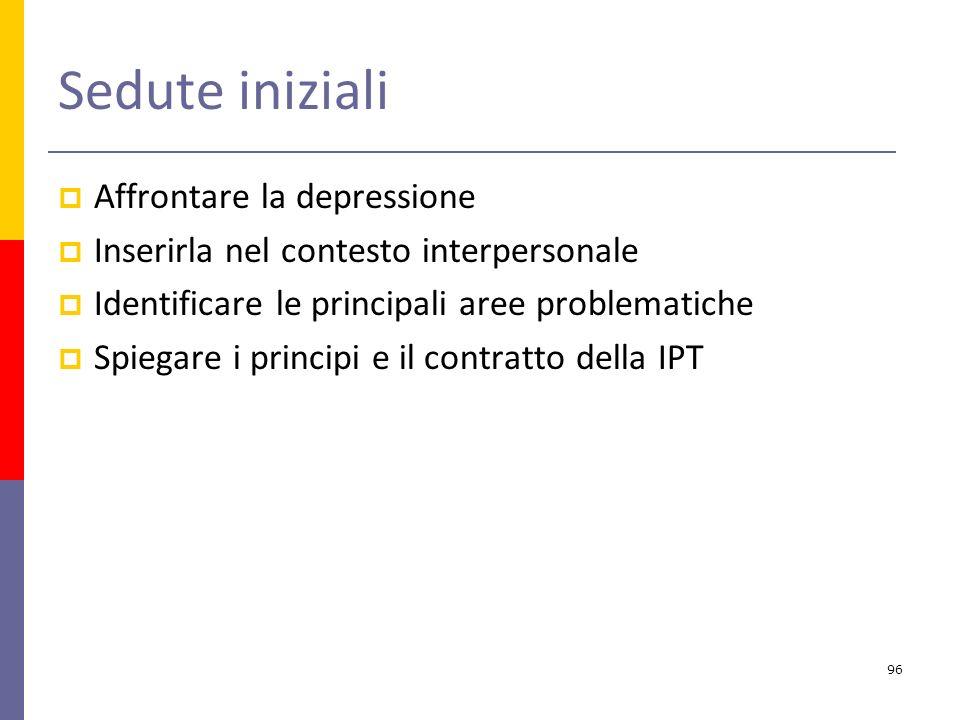 Sedute iniziali Affrontare la depressione Inserirla nel contesto interpersonale Identificare le principali aree problematiche Spiegare i principi e il contratto della IPT 96