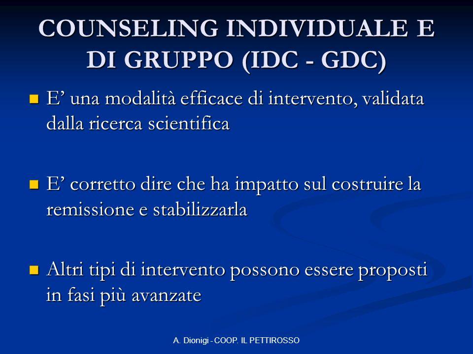 A. Dionigi - COOP. IL PETTIROSSO COUNSELING INDIVIDUALE E DI GRUPPO (IDC - GDC) E una modalità efficace di intervento, validata dalla ricerca scientif