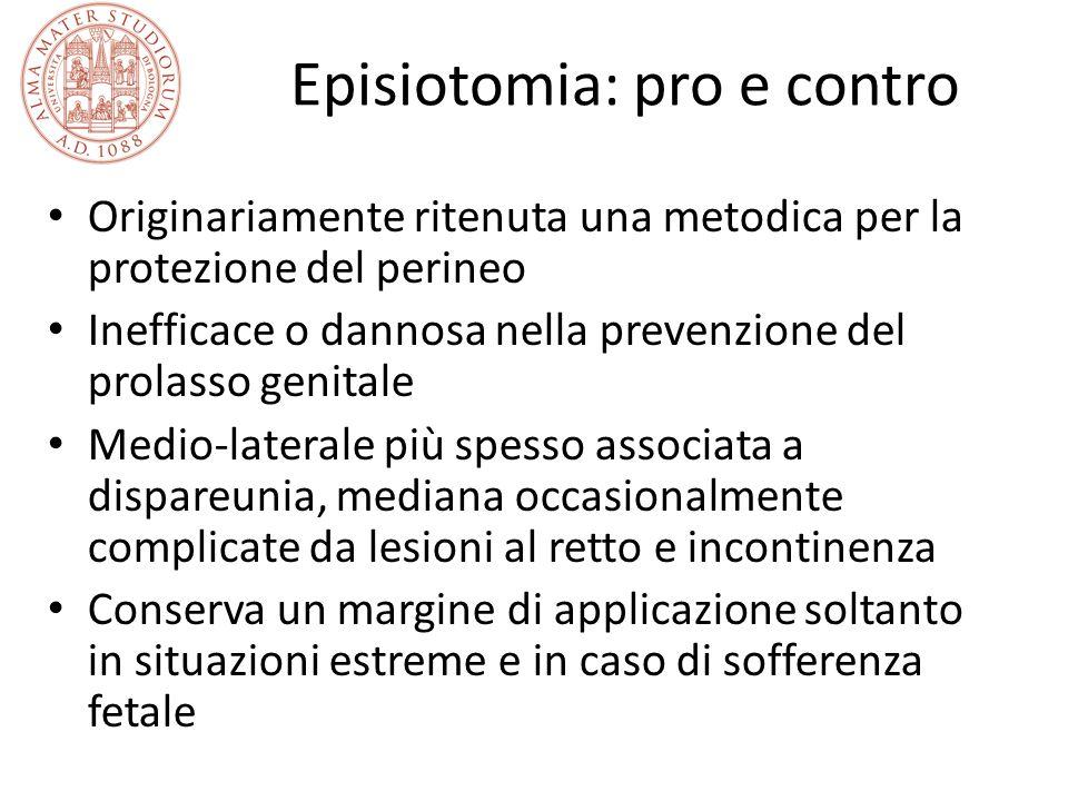 Episiotomia: pro e contro Originariamente ritenuta una metodica per la protezione del perineo Inefficace o dannosa nella prevenzione del prolasso geni