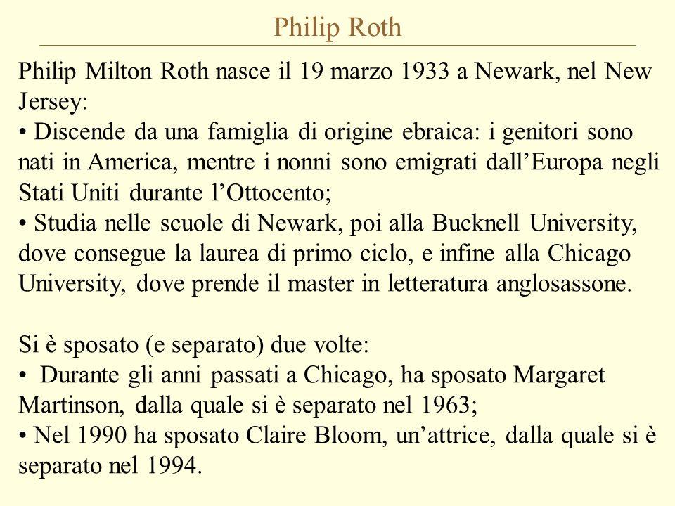 Philip Roth Oltre che alla scrittura, si è dedicato anche allinsegnamento: Ha tenuto corsi di scrittura creativa e di storia della letteratura a Princeton e alluniversità dellIowa; Ha insegnato per molti anni letterature comparate alluniversità della Pennsylvania, fino al 1992, quando ha deciso di ritirarsi per dedicarsi esclusivamente alla scrittura.