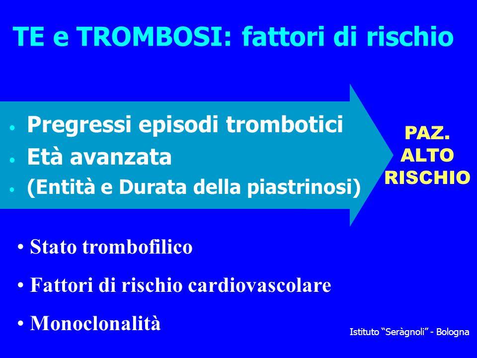 TE e TROMBOSI: fattori di rischio Pregressi episodi trombotici Età avanzata (Entità e Durata della piastrinosi) Istituto Seràgnoli - Bologna PAZ. ALTO