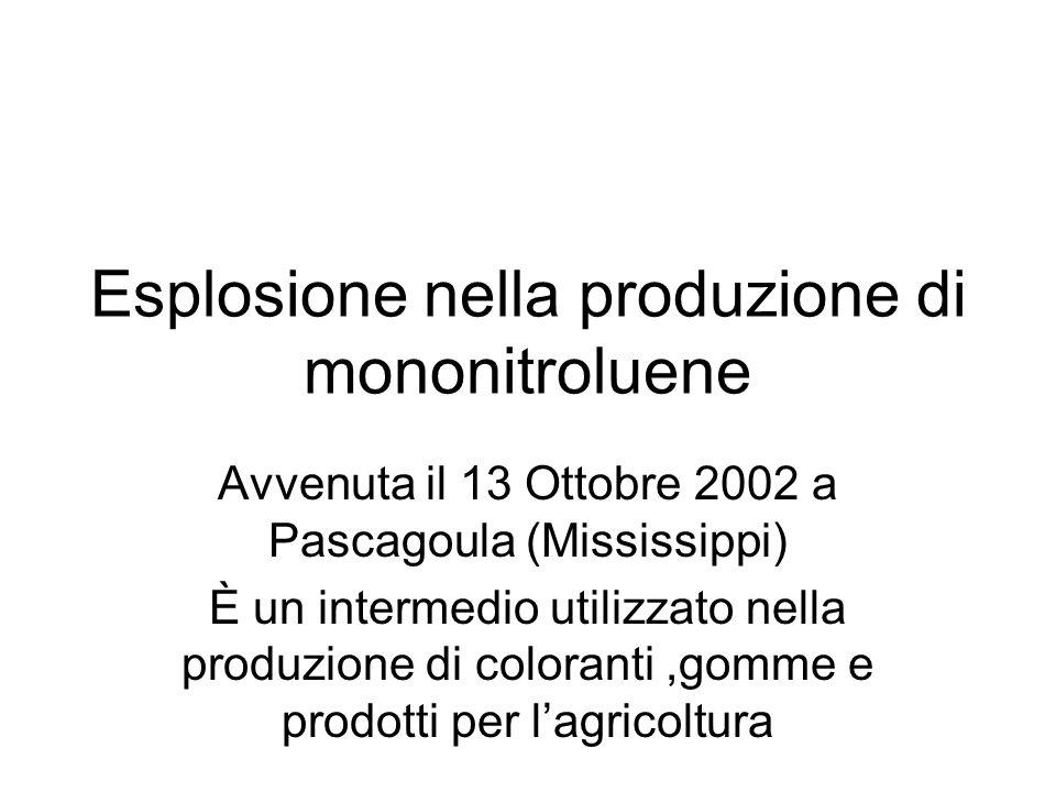 Esplosione nella produzione di mononitroluene Avvenuta il 13 Ottobre 2002 a Pascagoula (Mississippi) È un intermedio utilizzato nella produzione di co