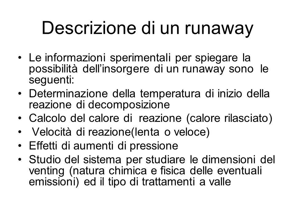 Descrizione di un runaway Le informazioni sperimentali per spiegare la possibilità dellinsorgere di un runaway sono le seguenti: Determinazione della