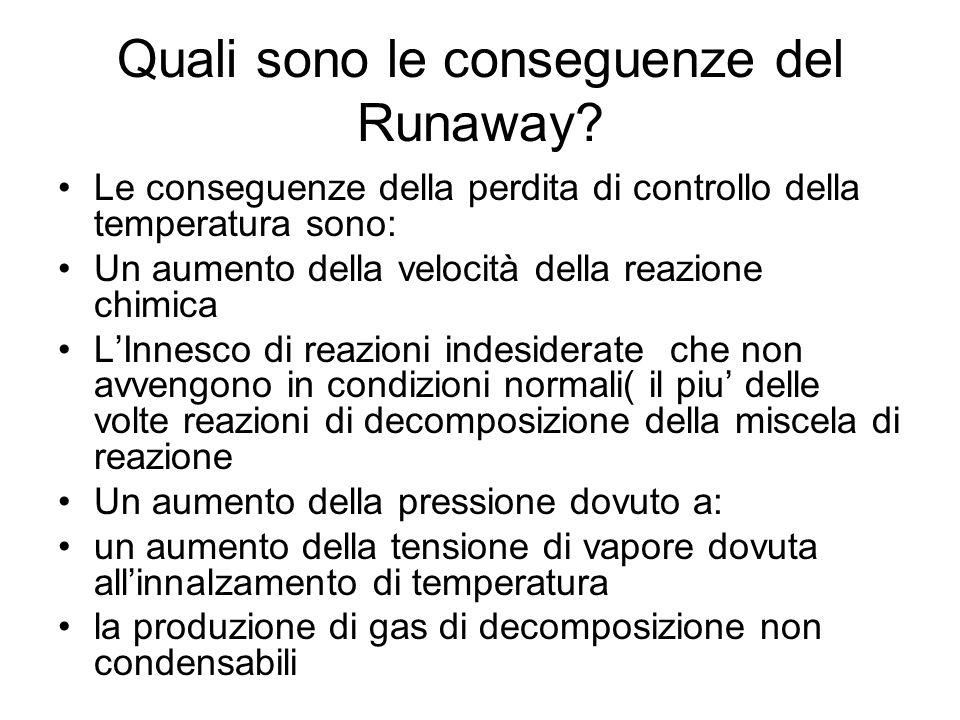 Quali sono le conseguenze del Runaway? Le conseguenze della perdita di controllo della temperatura sono: Un aumento della velocità della reazione chim
