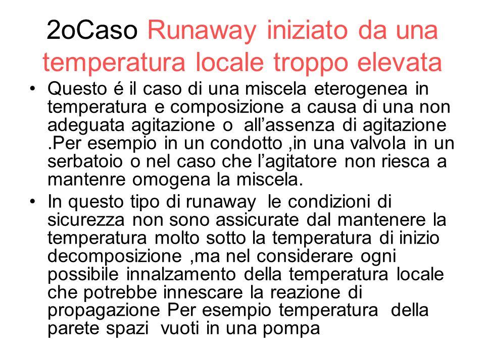 2oCaso Runaway iniziato da una temperatura locale troppo elevata Questo é il caso di una miscela eterogenea in temperatura e composizione a causa di u