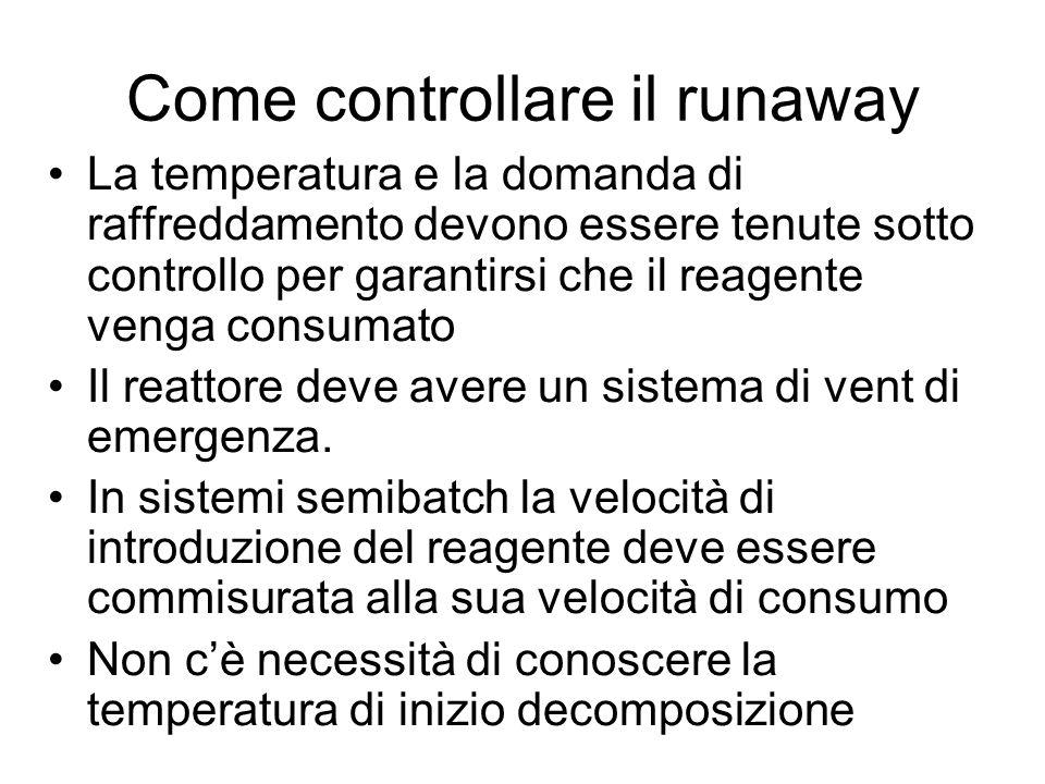 Come controllare il runaway La temperatura e la domanda di raffreddamento devono essere tenute sotto controllo per garantirsi che il reagente venga co