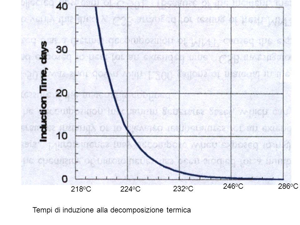 232 o C 246 o C286 o C 218 o C224 o C Tempi di induzione alla decomposizione termica