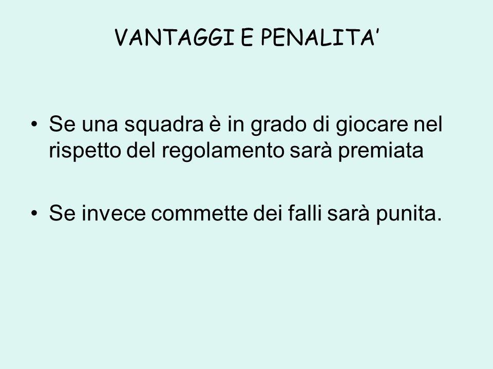 VANTAGGI E PENALITA Se una squadra è in grado di giocare nel rispetto del regolamento sarà premiata Se invece commette dei falli sarà punita.