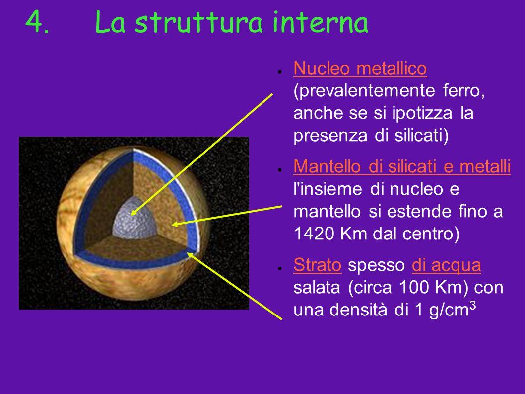 4.La struttura interna Nucleo metallico (prevalentemente ferro, anche se si ipotizza la presenza di silicati) Mantello di silicati e metalli l'insieme