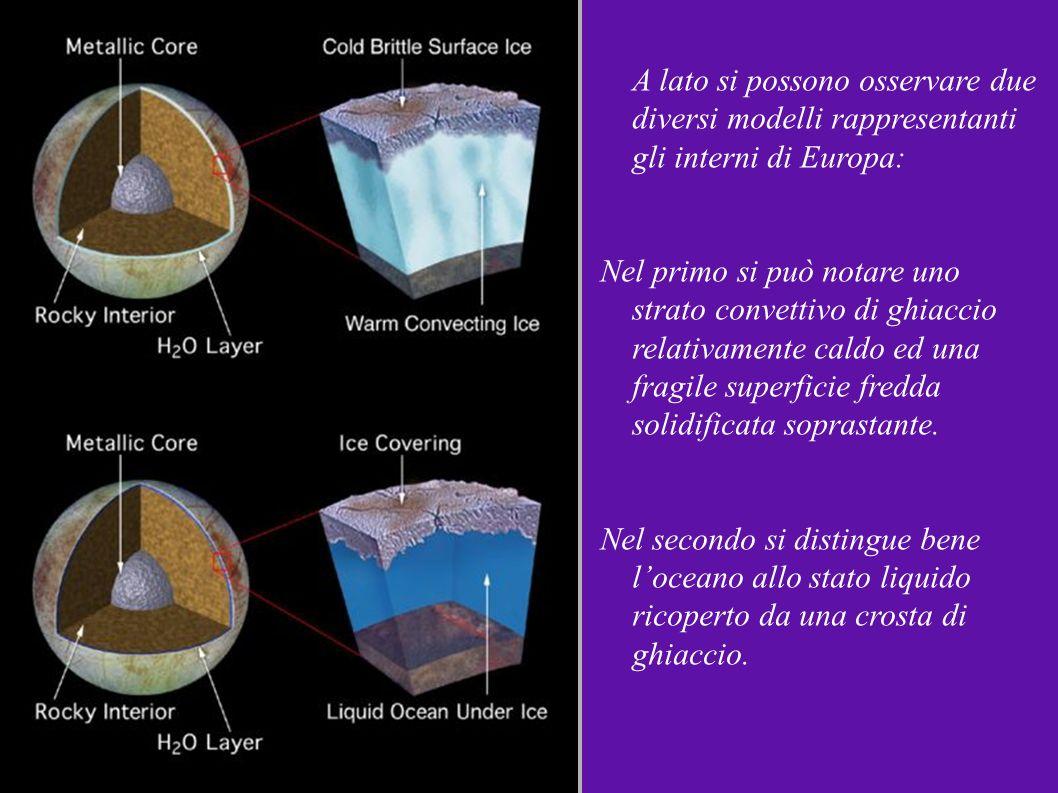 A lato si possono osservare due diversi modelli rappresentanti gli interni di Europa: Nel primo si può notare uno strato convettivo di ghiaccio relati