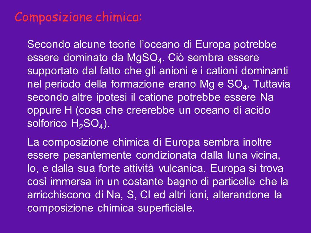 Composizione chimica: Secondo alcune teorie loceano di Europa potrebbe essere dominato da MgSO 4. Ciò sembra essere supportato dal fatto che gli anion