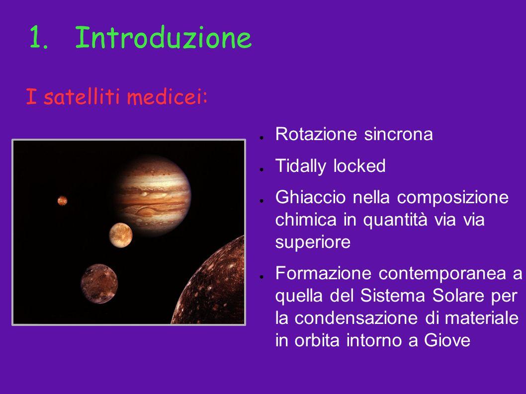 1.Introduzione Rotazione sincrona Tidally locked Ghiaccio nella composizione chimica in quantità via via superiore Formazione contemporanea a quella d