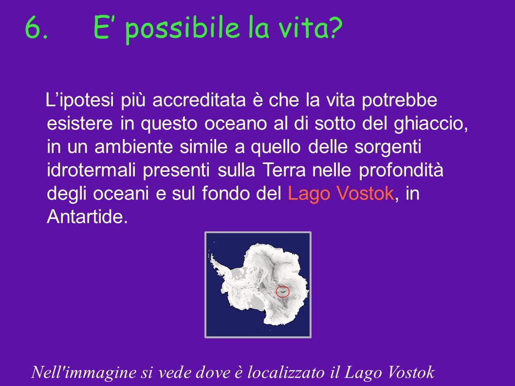 6.E possibile la vita? Lipotesi più accreditata è che la vita potrebbe esistere in questo oceano al di sotto del ghiaccio, in un ambiente simile a que