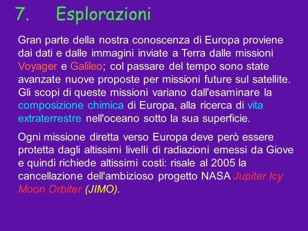 7.Esplorazioni Gran parte della nostra conoscenza di Europa proviene dai dati e dalle immagini inviate a Terra dalle missioni Voyager e Galileo; col p