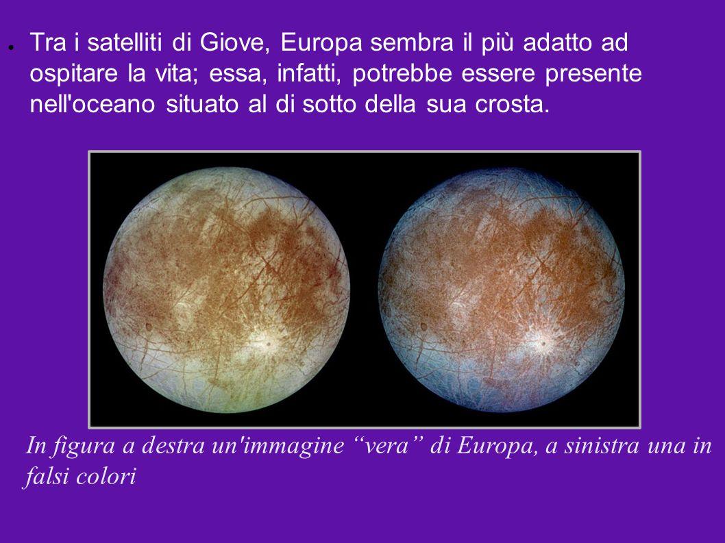 In figura a destra un'immagine vera di Europa, a sinistra una in falsi colori Tra i satelliti di Giove, Europa sembra il più adatto ad ospitare la vit