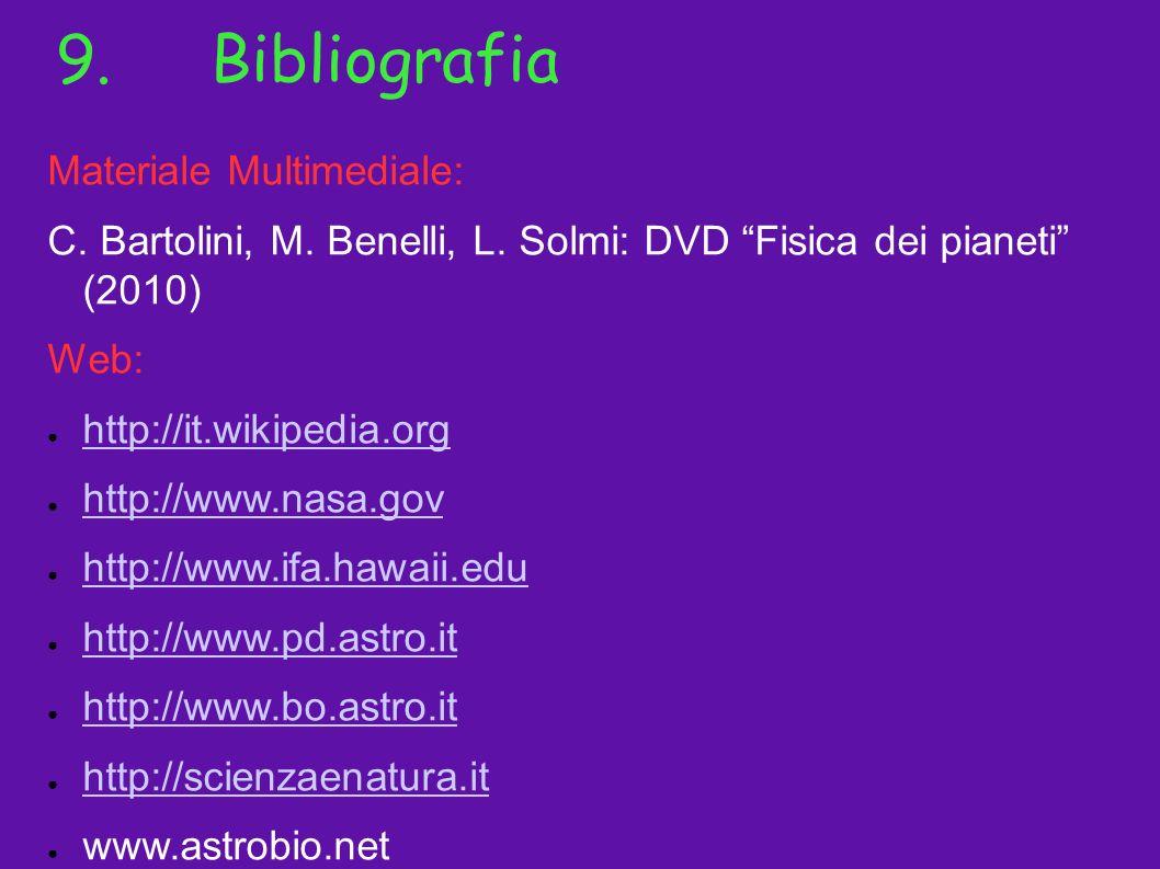 9.Bibliografia Materiale Multimediale: C. Bartolini, M. Benelli, L. Solmi: DVD Fisica dei pianeti (2010) Web: http://it.wikipedia.org http://www.nasa.