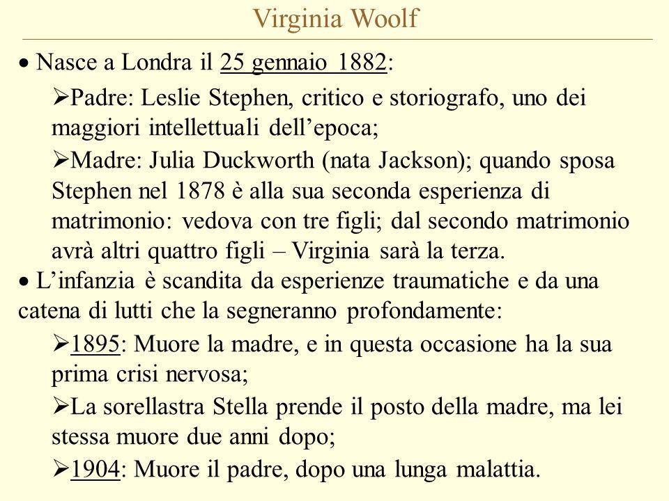 Virginia Woolf Nasce a Londra il 25 gennaio 1882: Padre: Leslie Stephen, critico e storiografo, uno dei maggiori intellettuali dellepoca; Madre: Julia