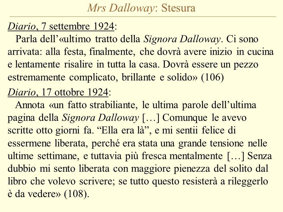 Mrs Dalloway: Stesura Diario, 7 settembre 1924: Parla dell«ultimo tratto della Signora Dalloway. Ci sono arrivata: alla festa, finalmente, che dovrà a