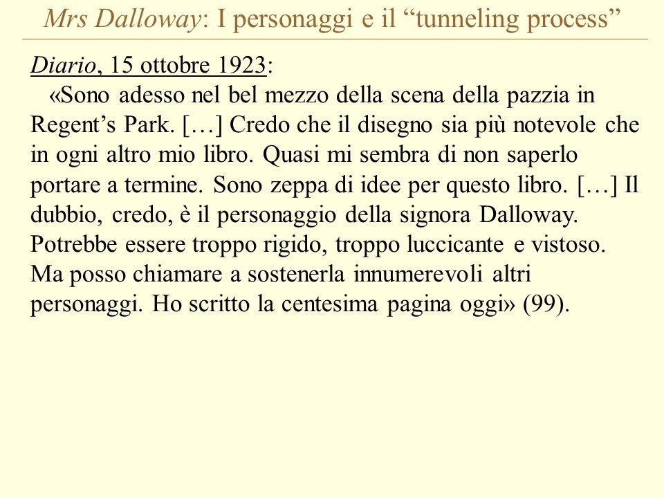Mrs Dalloway: I personaggi e il tunneling process Diario, 15 ottobre 1923: «Sono adesso nel bel mezzo della scena della pazzia in Regents Park. […] Cr