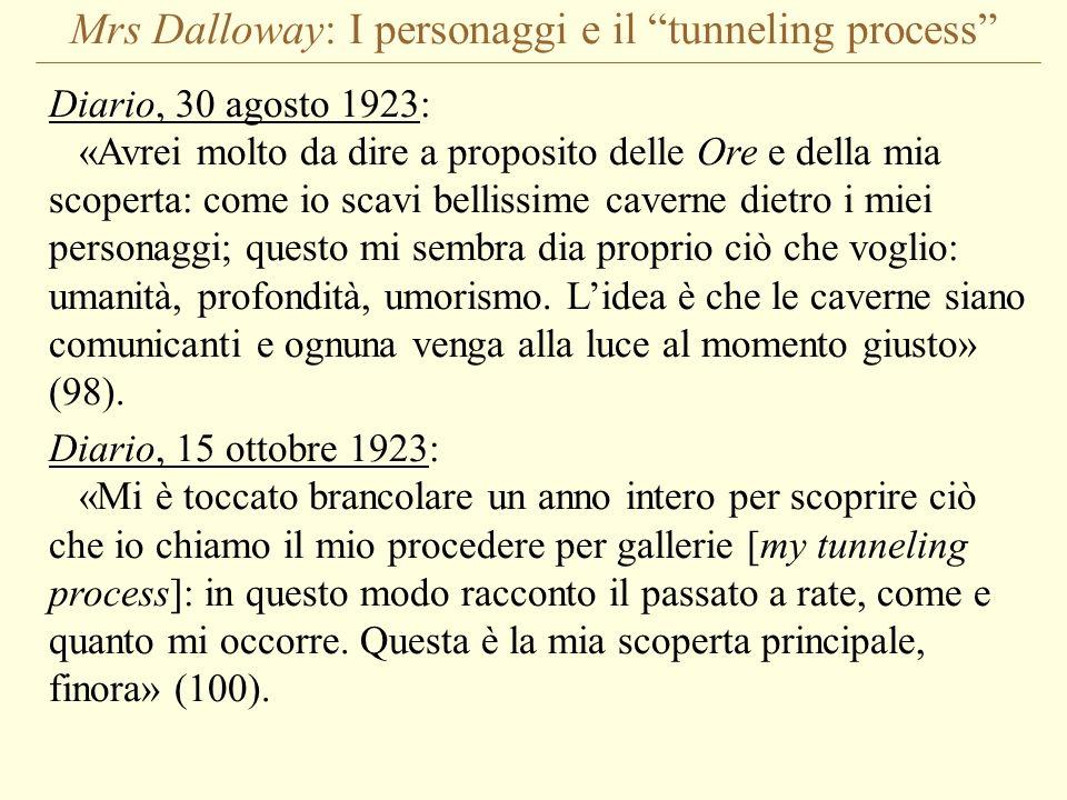 Mrs Dalloway: I personaggi e il tunneling process Diario, 30 agosto 1923: «Avrei molto da dire a proposito delle Ore e della mia scoperta: come io sca
