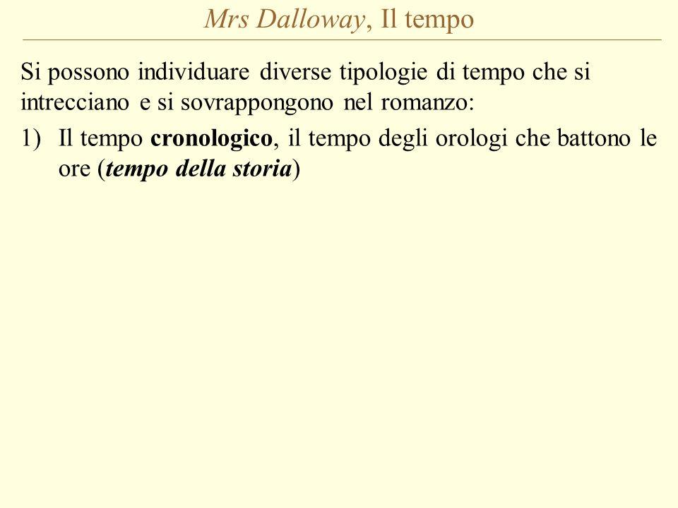 Mrs Dalloway, Il tempo Si possono individuare diverse tipologie di tempo che si intrecciano e si sovrappongono nel romanzo: 1)Il tempo cronologico, il