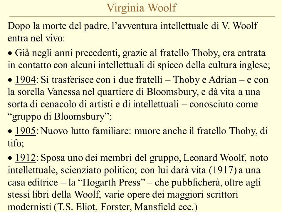 Virginia Woolf Dopo la morte del padre, lavventura intellettuale di V. Woolf entra nel vivo: Già negli anni precedenti, grazie al fratello Thoby, era
