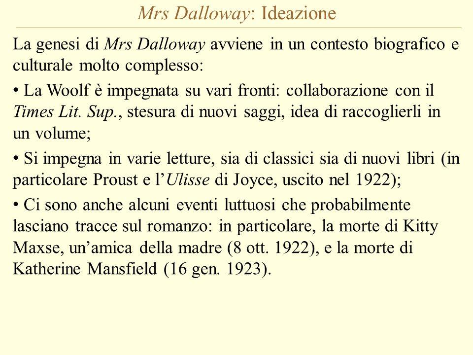 Mrs Dalloway: Ideazione La genesi di Mrs Dalloway avviene in un contesto biografico e culturale molto complesso: La Woolf è impegnata su vari fronti: