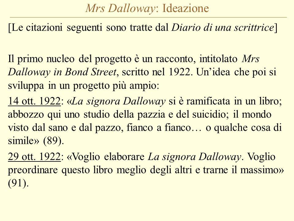 Mrs Dalloway: Ideazione [Le citazioni seguenti sono tratte dal Diario di una scrittrice] Il primo nucleo del progetto è un racconto, intitolato Mrs Da
