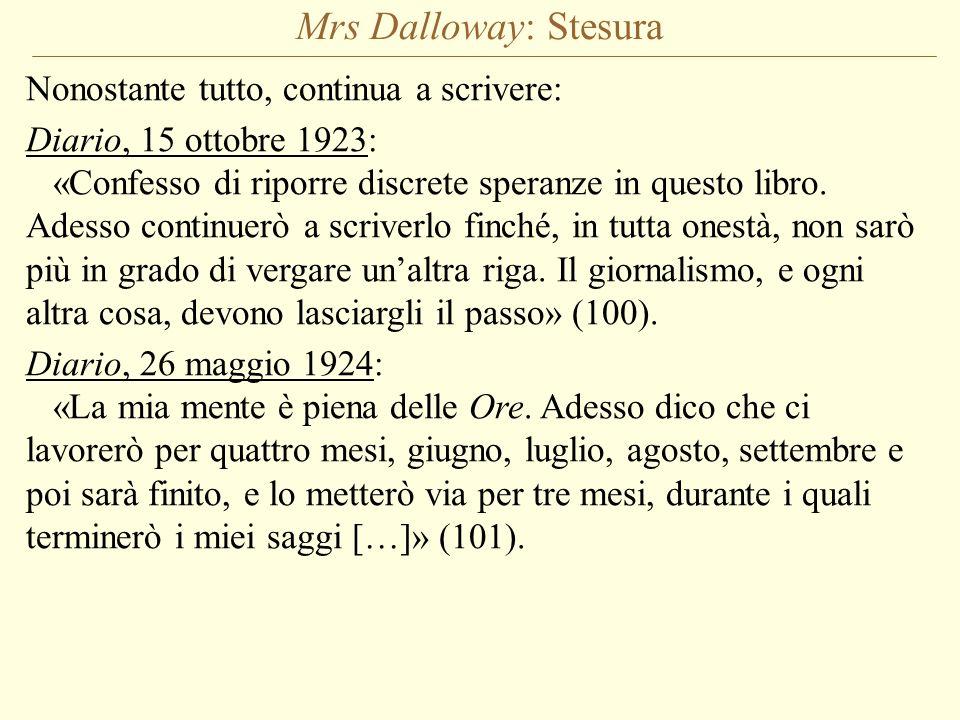 Mrs Dalloway: Stesura Nonostante tutto, continua a scrivere: Diario, 15 ottobre 1923: «Confesso di riporre discrete speranze in questo libro. Adesso c
