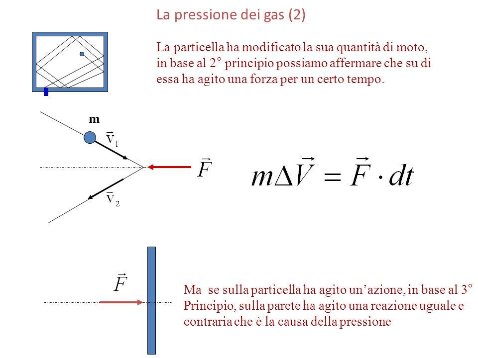 La pressione dei gas (2) La particella ha modificato la sua quantità di moto, in base al 2° principio possiamo affermare che su di essa ha agito una f