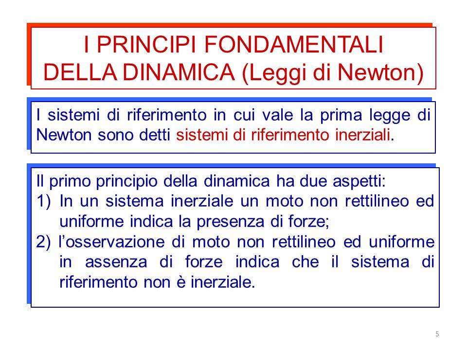 5 I PRINCIPI FONDAMENTALI DELLA DINAMICA (Leggi di Newton) I PRINCIPI FONDAMENTALI DELLA DINAMICA (Leggi di Newton) I sistemi di riferimento in cui va