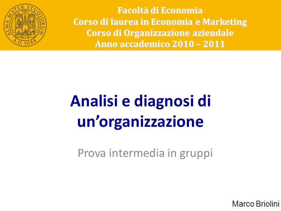 Analisi e diagnosi di unorganizzazione Prova intermedia in gruppi Facoltà di Economia Corso di laurea in Economia e Marketing Corso di Organizzazione