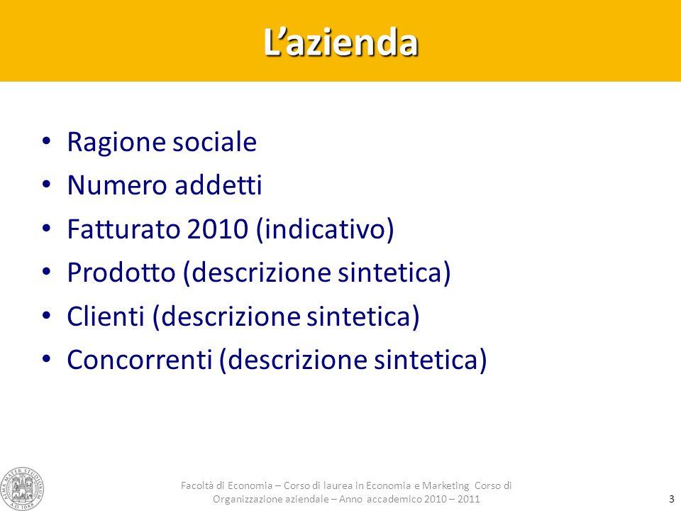 Lazienda Ragione sociale Numero addetti Fatturato 2010 (indicativo) Prodotto (descrizione sintetica) Clienti (descrizione sintetica) Concorrenti (desc