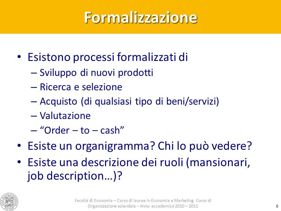 Formalizzazione Esistono processi formalizzati di – Sviluppo di nuovi prodotti – Ricerca e selezione – Acquisto (di qualsiasi tipo di beni/servizi) – Valutazione – Order – to – cash Esiste un organigramma.