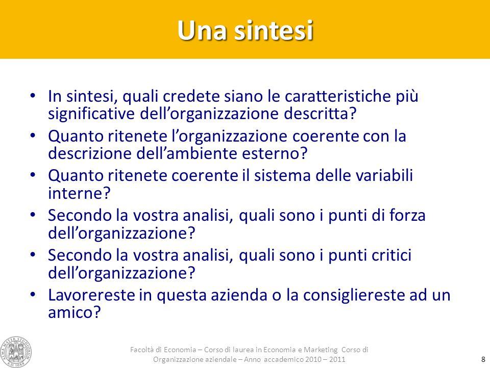 Una sintesi In sintesi, quali credete siano le caratteristiche più significative dellorganizzazione descritta? Quanto ritenete lorganizzazione coerent