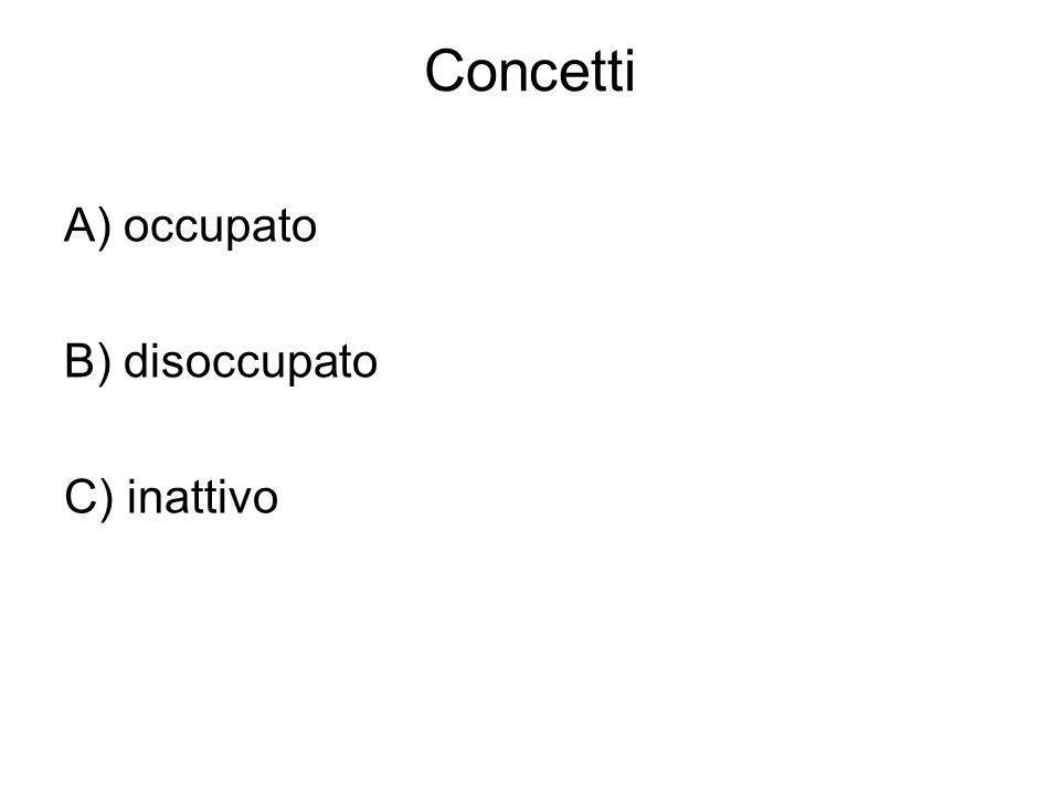 Concetti A) occupato B) disoccupato C) inattivo